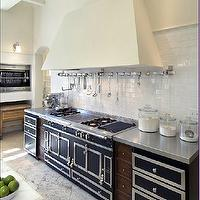 kitchens - la cornue range, subway tiles, backsplash, stainless steel, utensils rack, countertops, glass canisters, calcutta, marble, countertops, calcutta, marble, countertop,