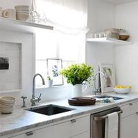 Lindsey Meadows - kitchens - kitchen with double sinks, kitchen with two sinks, double sinks, double kitchen sinks, floating shelves, kitchen floating shelves, square sinks, square kitchen sinks, white carrera marble, white carrera marble countertops, sinks flanking dishwasher,