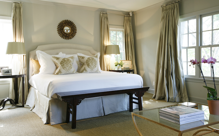 Light taupe curtains traditional bedroom ashley for What color curtains go with taupe walls