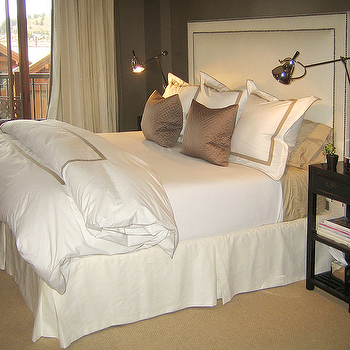 Ashley Goforth Design - bedrooms - taupe paint, taupe paint colors, taupe paint color, taupe walls, taupe bedrooms, white and taupe bedroom, ivory headboard, black nightstands, ivory bed skirt, bordered shams, bordered duvet, dark brown walls, ivory curtains, ivory drapes,