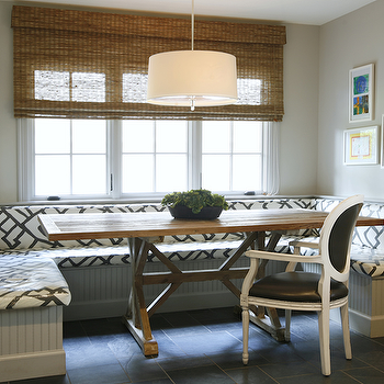 Ashley Goforth Design - dining rooms: banquette, dining banquette, built-in banquette, built in dining banquette, u shaped banquette, beadboard banquette, drum pendant, trestle dining table, zimba charcoal, zimba charcoal fabric, banquette with beadboard trim, beadboard trim,