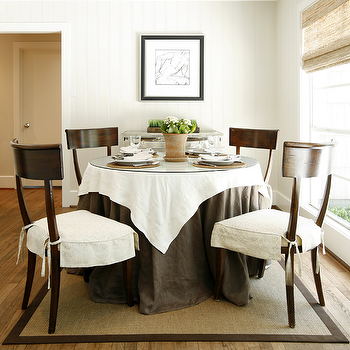 Ashley Goforth Design - dining rooms: klismos dining chair, klismos chair, espresso klismos chairs, skirted dining table, tablecloth, dark brown tablecloth, round dining table, glass top dining table, glass topped dining table, round glass top dining table, round glass topped dining table, bound sisal rug, brown klismos chairs,