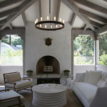 decks/patios - patio, enclosed patio, sunroom, sunroom ideas, rustic wood beams, wood beams, slipcovered sofa, white slipcovered sofa, pipa cocktail table, iron candelabra,