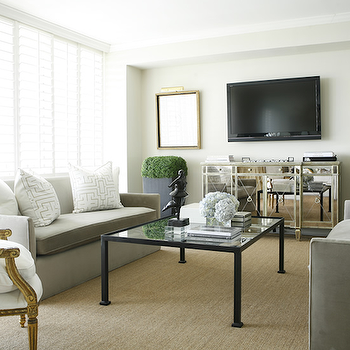 Mirrored Media Cabinet, Transitional, living room, Ashley Goforth Design