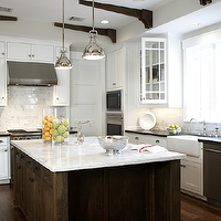 Ashley Goforth Design - kitchens - farmhouse sink, white carrara marble, countertops, subway tiles, backsplash, glass-front, kitchen, cabinets, wood beams, kitchen island., Yoke Pendants with Small Shade,