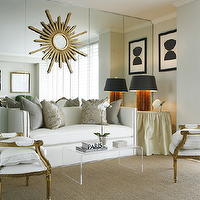 Ashley Goforth Design - living rooms - gold leaf, louis, chairs, white, nailhead trim, sofa, mirrored walls, gold, gray, silk, damask, pillows, gray, velvet, pillows, skirted table, gold, sunburst, mirror, , Peekaboo Clear Coffee Table,