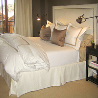 Ashley Goforth Design - bedrooms - white, nailhead trim, headboard, taupe, walls, paint, color, taupe, silk pillows, white, bedding, taupe, stitching trim, sisal, rug, ivory, silk, drapes, polished chrome, task, lamps, black, asian, nightstands, taupe paint, taupe paint colors, taupe paint color, taupe walls, taupe bedrooms,