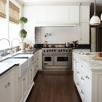 Ashley Goforth Design - kitchens - topiaries, subway, tiles, backsplash, pot filler, creamy, white, kitchen, cabinets, farmhouse sinks, black, marble, countertops, calcutta, marble, countertops, bamboo, roman shades, Sloane Single Pendant,