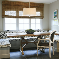 Ashley Goforth Design - dining rooms - banquette, dining banquette, built-in banquette, built in dining banquette, u shaped banquette, beadboard banquette, drum pendant, trestle dining table, zimba charcoal, zimba charcoal fabric, banquette with beadboard trim, beadboard trim, , F Schumacher Zimba Charcoal Fabric,