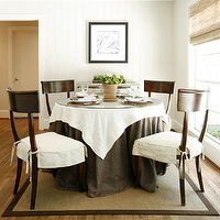 Ashley Goforth Design - dining rooms - beadboard, round, dining table, seagrass, rug, white, brown, linen, tablecloth, mirrored, chest, cabinet, bamboo, roman shade, Klismos Dining Chair,