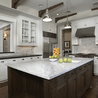 Ashley Goforth Design - kitchens - yoke pendants, white, carrara, marble, countertops, subway tiles, backsplash, kitchen island, glass-front, cabinets, white, kitchen, cabinets, wood beams, Yoke Pendants with Small Shade,