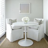 Ashley Goforth Design - dining rooms - white, tulip, dining table, white, slipcovered, chairs, sisal, rug, pillows, gray, walls, dining room, Kelly Wearstler Imperial Trellis - Midnight,