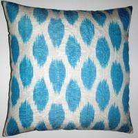Pillows - IKT044 Silk/Cotton Ikat Pillow Cover - turquoise, ikat, pillow
