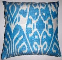 Pillows - IKT54 Silk/cotton ikat pillow cover - turquoise, ikat, pillow