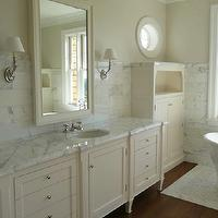 Giannetti Home - bathrooms - cream cabinets, cream bathroom cabinets, cream vanity, cream bathroom vanity, cream linen cabinets, white marble countertops, cream mirror, cream framed mirror, cream beveled mirror, Farrow & Ball Pointing,
