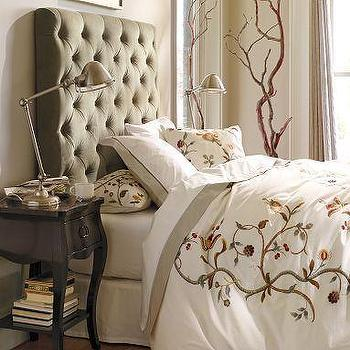 Beds/Headboards - Lorraine Tufted Velvet Headboard | Pottery Barn - tall, tufted. headboard