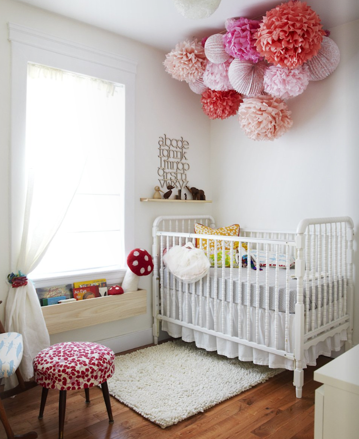 Covet Garden - nurseries - nursery pom pom, jenny lind crib, white jenny lind crib, wall mounted bookcase, nursery bookcase,  Fun, playful girl's