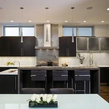 Aimee Kim - kitchens - frameless cabinets, frameless kitchen cabinets, espresso cabinets, espresso kitchen cabinets, espresso frameless cabinets, espresso frameless kitchen cabinets, waterfall kitchen island, frosted glass dining table,