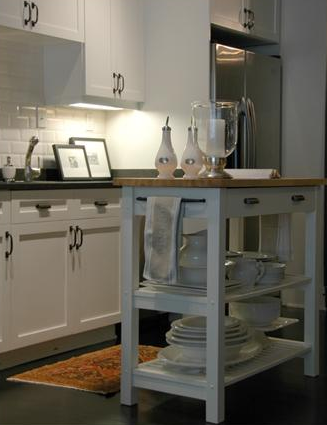 white island with butcher block top transitional