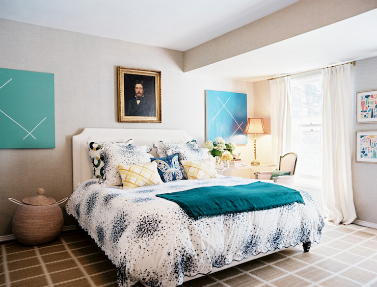 Gray Blue Yellow Bedroom gray and teal bedroom