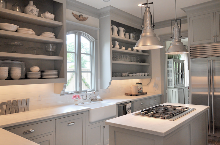 Gray Kitchen Cabinets, Transitional, kitchen, Benjamin Moore Fieldstone, Sally Wheat Interiors