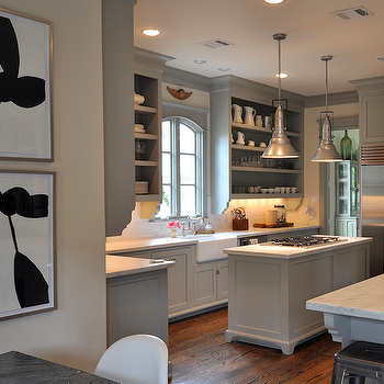 Gray Green Kitchen Cabinets, Transitional, kitchen, Benjamin Moore Fieldstone, Sally Wheat Interiors