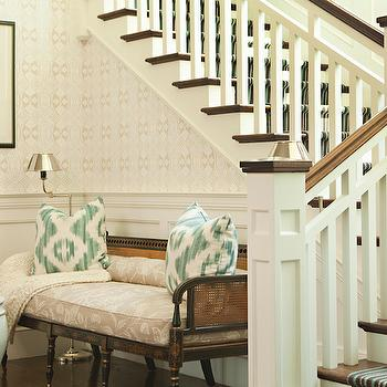 Thornton Designs - entrances/foyers: wainscoting, foyer wainscoting, cane bench, foyer, foyer bench, ikat pillows,  Ivory & seafoam green foyer
