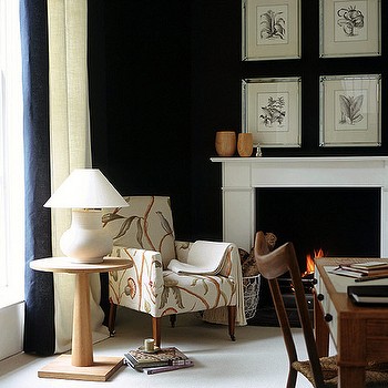 Black Wall Paint, Transitional, living room, Farrow & Ball Off-Black, House & Garden