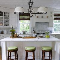 Thornton Designs - kitchens - pagoda chandelier, black pagoda chandelier, pagoda chandelier with drum pendants, calcutta marble, calcutta marble countertops, white kitchen island, paneled kitchen hood, green bar stools,