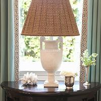 Thornton Designs - living rooms - greek key trim, white, vintage lamps, vintage table lamps, alabaster lamps, alabaster table lamps, vintage alabaster lamps, curtains with greek key trim, drapes with greek key trim, half moon table, demilune table,