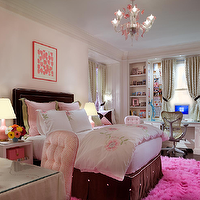 Cullman & Kravis - girl's rooms - girls room, pink walls, pink rug, pink sheepskin rug, hot pink rug, hot pink sheepskin rug, brown headboard, brown bedskirt, built in desk, girls desk, girls built in desk, kids desk, kids built in desk,