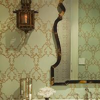 Thornton Designs - bathrooms - green, gray, gold, wallpaper, bronze, mirror, sconces, stainless steel sink, polished nickel, faucet,  Seafoam