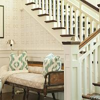 Thornton Designs - entrances/foyers - blue, brown, striped, stair runner, white, green, pillows, cane, bench, white, garden stool, wainscoting,