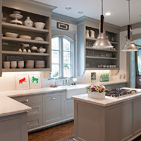 Sally Wheat Interiors - kitchens - gray, kitchen, cabinets, open shelves, farmhouse sink, island, pendants, calcutta, marble, countertops, gray kitchen cabinets, gray shaker cabinets, gray shaker kitchen cabinets, gray kitchen cabinet colors, gray paint colors, kitchen cabinet paint color, gray kitchen cabinet paint colors, gray kitchens, gray cabinets, gray islands, gray kitchen islands,