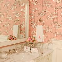 Thornton Designs - bathrooms - hand towels, monogrammed hand towels, pink floral wallpaper, pink cherry blossom wallpaper, white beveled mirror, framed mirror, framed bathroom mirror, white marble countertops,