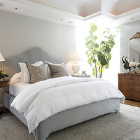 Ashley Goforth Design - bedrooms - gray, velvet, headboard, bed, gray, silk, damask, pillows, white, lamps, blue, gray, silk, drapes, pedestal, tables, nightstands, rug, mirror, gray, walls, paint, color, gray headboard, grey headboard, gray bed, grey bed, queen bed, queen gray bed,