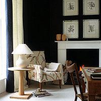House & Garden - living rooms - Farrow & Ball - Off-Black - black, walls, paint, color, pedestal, table, white, fireplace, white, lamp, chair, art,