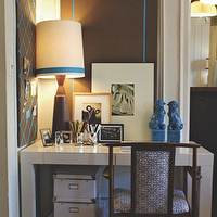 Ron Marvin - dens/libraries/offices - turquoise, foo dogs, white, storage, boxes, chocolate, brown, accent wall, foo dogs, blue foo dogs, turquoise foo dogs, turquoise blue foo dogs, West Elm Parsons Desk,