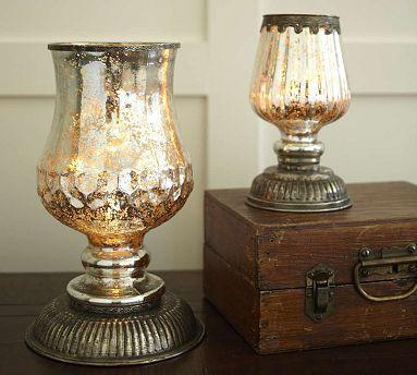 Serena Antique Mercury Glass Hurricane Lamps Pottery Barn