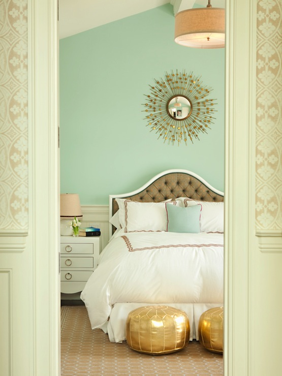 Thornton Designs - bedrooms - Nate Berkus Gold Metallic Pouf, Bungalow 5 Jacqui Chest, mint green walls, mint green paint, sunburst mirror, tufted headboard, taupe headboard, taupe tufted headboard, bungalow 5 table, bungalow 5 nightstand, jacqui nightstand, gold poufs, gold moroccan poufs,