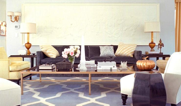 Trellis Rug Contemporary Living Room Kelly Wearstler