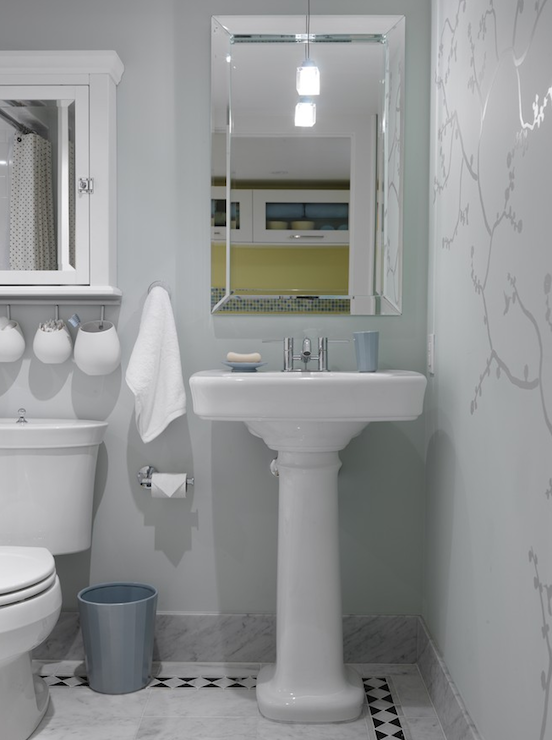 Sarah Richardson Design - bathrooms - ICI Dulux - Shadow Dream - medicine cabinet, white medicine cabinet, framed medicine cabinet, white framed medicine cabinet, medicine cabinet over toilet, medicine cabinet above toilet, silver wall mural, blue walls, blue bathroom walls,