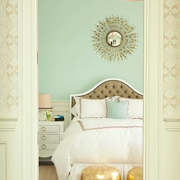 Thornton Designs - bedrooms - mint green walls, mint green paint, sunburst mirror, tufted headboard, taupe headboard, taupe tufted headboard, bungalow 5 table, bungalow 5 nightstand, jacqui nightstand, gold poufs, gold moroccan poufs, Nate Berkus Gold Metallic Pouf, Bungalow 5 Jacqui Chest,