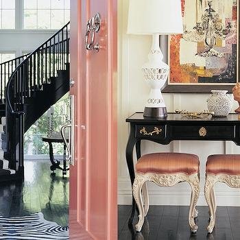 Black Stair Railing, Eclectic, entrance/foyer, Kelly Wearstler