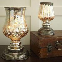 Decor/Accessories - Serena Antique Mercury Glass Hurricane Lamps | Pottery Barn - serena, antique, mercury, glass, hurricane