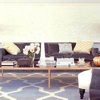 Kelly Wearstler - living rooms - charcoal, gray, modern, sofa, yellow, zebra, pillows, brass, mirrored, cocktail table, yellow, velvet, chair, orange, lamps, white, slipper, chair, blue, graphic, moroccan, rug, trellis rugs, gray trellis rugs, white and gray trellis rugs,