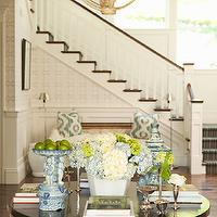 Thornton Designs - entrances/foyers - mahogany, pedestal, foyer, table, bench, green, pillows, pendant, striped, brown, green, blue, stair runner,