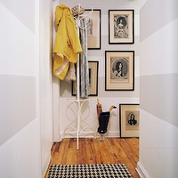 entrances/foyers - white, sand, beige, horizontal, stripes, painted walls, white, vintage, coat rack, acrylic, lucite, umbrella holder, art gallery, horizontal striped, horizontal wall stripes, horizontal stripes on walls, horizontal striped walls,