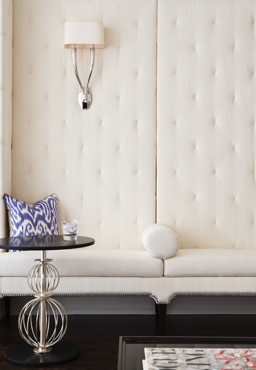 White Tufted Bench Contemporary Living Room McGill Design Group