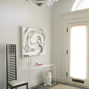 Lori Graham Design - entrances/foyers - crown molding, acrylic console table, umbrella stand, tall back chair, CB2 Peekaboo Console Table, Owl Umbrella Stand,